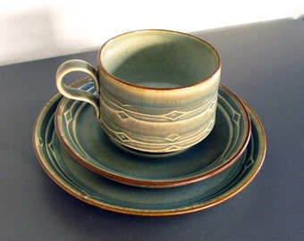 Nissen Denmark / Bing and Grondahl / RUNE by Quistgaard / coffee cup & saucer + plate / Danish design from the 60s / Coffee or tea set