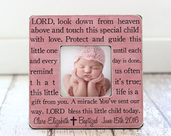 Baptism Gift for a GIRL Personalized Picture Frame Godchild Godson Goddaughter Baptism Christening Dedication Baby GIFT Prayer
