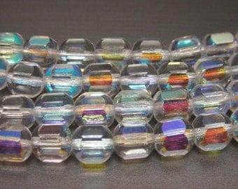 Czech Glass Barrel Aurora Borealis Beads - 50 Pieces - 7mm