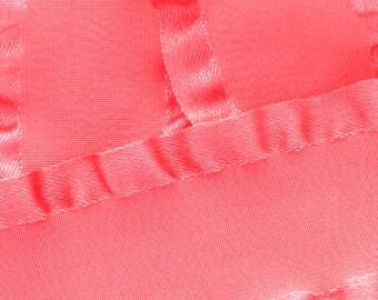 "7/8"" Satin Double Ruffle Ribbon - Coral 3yds"