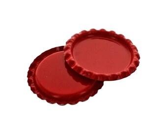 10 Caps - Flattened Red Bottle Caps