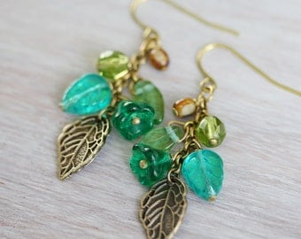 Flower and Leaf Cluster Earrings, Blue Glass and Antiqued Brass Cluster Earrings, Handmade Earrings