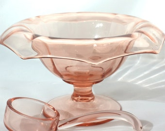 Mayonnaise Bowl, Imperial Glass, Pink Molly, 727, Pink Mayo Bowl, Mayonnaise Spoon, Mayo Ladle, Vintage, Elegant Glass, Pink Imperial Glass