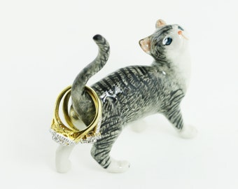 Ring Holder - Cat Ring Holder - Cat Figurine - Striped Black Cat - Tiny Cat -  Ceramic Hand Painted - Cat Miniature