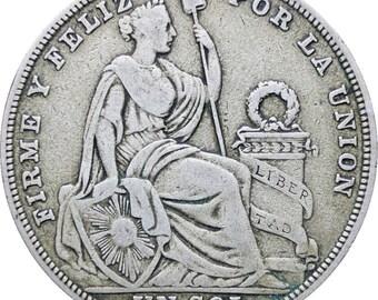 Peru 1923 One Sol Coin Silver