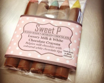 Chocolate Crayons, White Chocolate, Milk Chocolate, Dark Chocolate, Chocolate Pencils, Pack of 5 crayons, Luxury, Belgian Chocolate