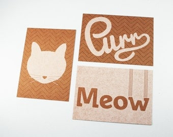 Cat Purr Meow mini posters A4
