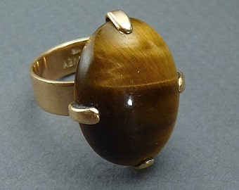 Tiger's Eye and 14 k ring by Harvey size 9