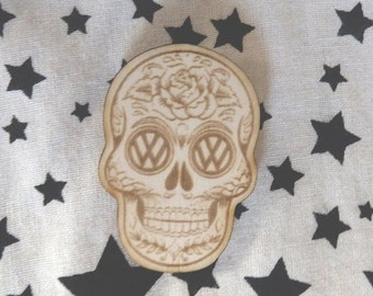 VW Brooch Pin Skeleton Lasercut from Wood