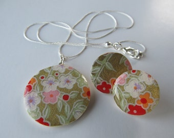 Japanese Cherry Blossom Chiyogami Paper Necklace and Earring Set