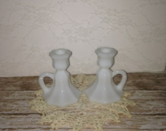 Vintage Milk Glass Candle Holders, Milk Glass Candle Holders, Wedding Candle Holders, Wedding Candle Sticks