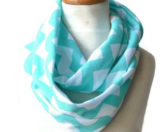 Toddler  Infinity Scarf, Girls Scarf, Aqua and White Chevron Scarf, Knit Infinity Scarf, Girls Accessories, Gifts For Girls