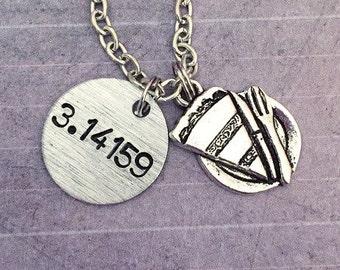 Pi - 3.14159 Necklace - Math Jewelry - Math Geek Jewelry - Nerd Jewelry - Handstamped Jewelry