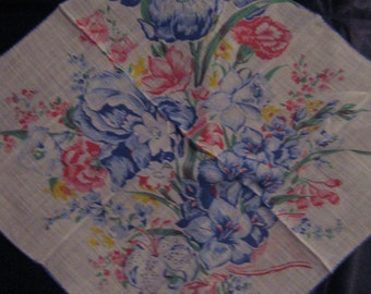 Blue Iris Handkerchief, Hanky with Blue  and Pink Flowers