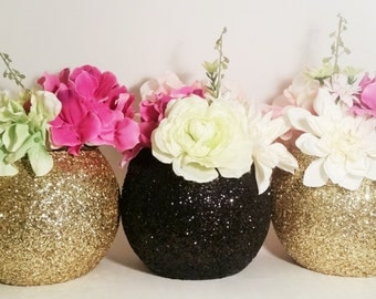 Wedding Decor, Wedding Centerpieces, Black and Gold Decor, Vase Centerpieces, Graduation Party Decorations, Gold Centerpieces, Set of 3