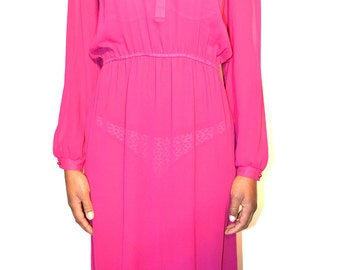 vintage dress/ chiffon dress/ vintage sheer dress/ size M