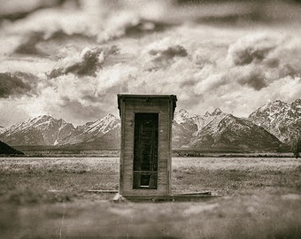 Unfound | Scenic, landscape, rural, Tetons, farm, outhouse
