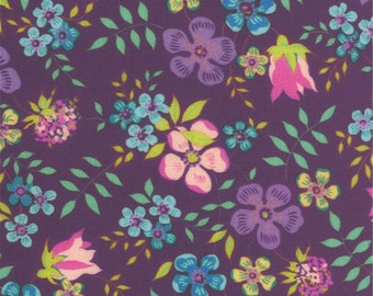 "Liberty Fabric Edenham D tana lawn 10"" x 10"" square (25,4 cm x 25,4 cm) purple pink green blue The Weavers Mill"