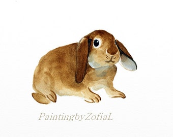 easter bunny rabbit original watercolor painting  bunny painting farm animal painting  size 30,2x23,8cm (approx.12,1x9,5inch)