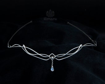 Sterling silver Circlet with rainbow moonstone -Freya- Made to order, Celtic Tiara Medieval Bridal Headpieace Elven Wedding Diadem Wire wrap