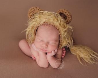 Newborn Lion Bonnet Baby Lion Hat and Tail Crochet Lion Hat Baby Lion Costume Baby Lion Hat Animal Hat Baby Photo Prop Brown Lion Hat