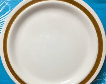 vintage Stoneware Dinner Plate in Sand Pebbles by Danielle Collection 11 inch Brown Trim