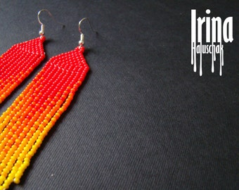 Beaded earrings, seed bead earrings, modern earrings, boho earrings, fringe earrings, beadwork jewelry, gradstion from red to yellow Chevron