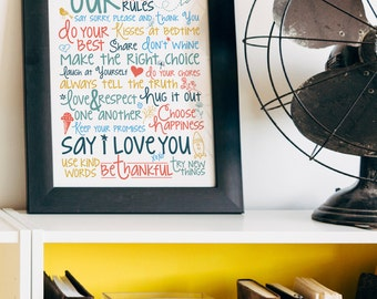 Family Rules {8.5 x 11 Art Print}