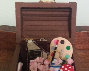 Brown and Gold Blythe Doll Toy Trunk with accessories