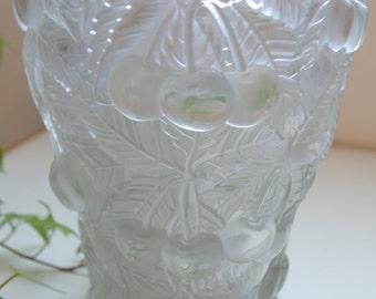 Barolac 1930 Etched Satin Finish Cherry Vase