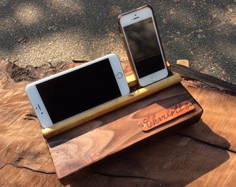 Customized Leather on Phone/Tablet Charging Station