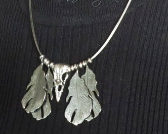 Raven Corvid Wire Necklace