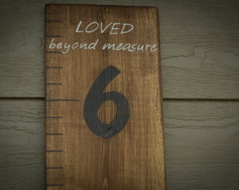 hand painted Loved beyond measure wooden growth chart