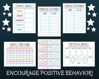 Kid's Chore Chart - Family Organization - Kid's Reward Chart - Daily Routine Chart - Bedtime Routine - Daily Routine - Chore Chart Sets
