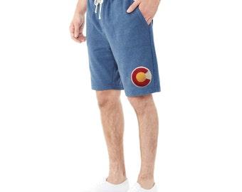 Men's Colorado Shorts ECO Friendly CO Flag Short Colorado Hiking Rocky Mountains Colorado Flag Shorts Colorado Gift for him Love Colorado