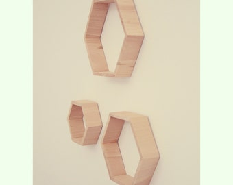 Trio of hexagonal shelves