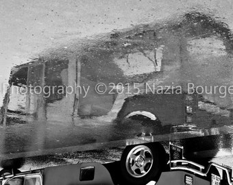 Street photography - black and white photography - reflection on wet by rain - Format 30 X 45 - Tuk - Tuk