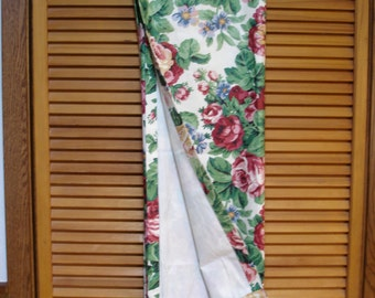 Longaberger Vintage Lined Drapery Panel in Sentimental Rose Design