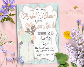 Mason Jar Bridal Shower Invitation / Digital Printable Birthday Invite for Wedding / DIY Blue Party