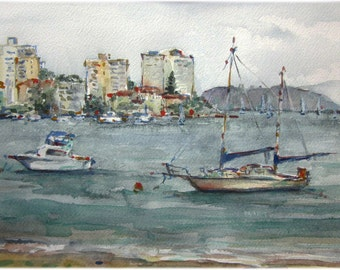 Sydney Manly beach - Original Watercolour Painting - 20.0cm (H) x 30.0cm (W)