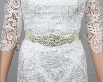 Wedding Dress Sash, Bridal sash for wedding, Bridal Dress Belt, Wedding Sash, Ivory.