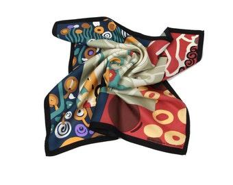 100% Silk Klimt pattern Neckerchief  Bandana Small scarf Petite scarf