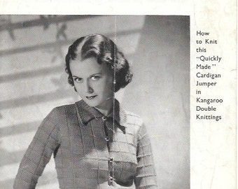 1940s Vintage Knitting Pattern Landgirl - Double Knitting, DK,  Womens Sweater/Jumper 34 inch chest/Bust- Instant Download