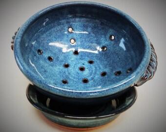 Custom handmade ceramic berry bowl set, Ceramic colander, Fruit bowl