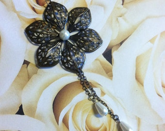 Bronze Filigree Flower with Pearl Drop Tassles