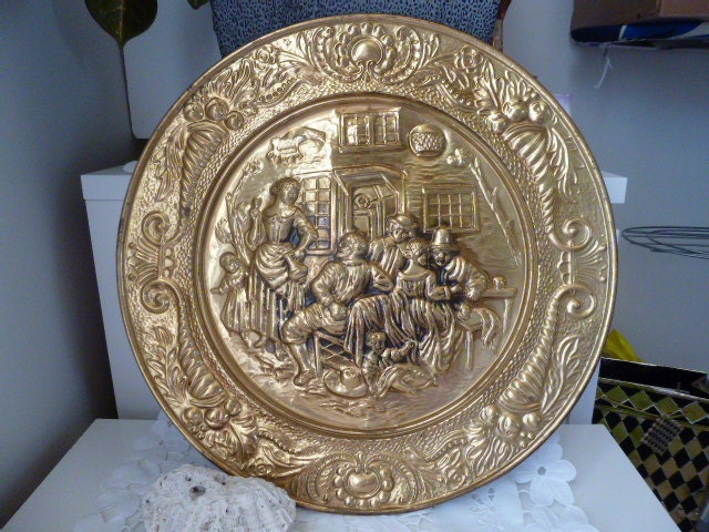 Decorative Wall Plates For Hanging: Vintage Brass Plate Wall Art Wall Hanging Wall Decor