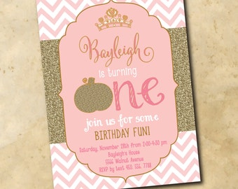 Adorable Princess Birthday Invitation with gold glitter Pumpkin/DIGITAL FILE/printable/wording and age can be changed