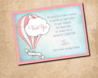Precious Thank You Note to match Baby Shower Invitation / digital file / printable / wording and colors can be changed