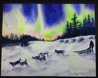 Alaskan Midnight Run, Origingal Watercolor Alaska dog sledding