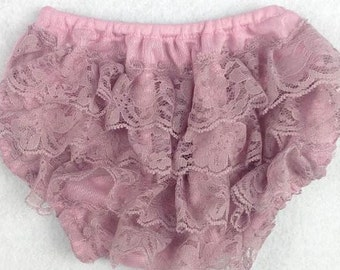 Mauve/ Dusty Pink Lace Bloomers for Baby Girl